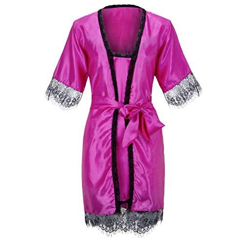 TTLOVE_Damen Spitze Seide Dessous Nachthemd Morgenmantel Kimono Satin Kurz Robe Bademantel NachtwäSche Sleepwear V Ausschnitt Pyjamas Set Mit GüRtel (Pink,S)