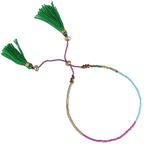 KELITCH Handmade Armband Kristall Perlen Schnur Freundschaftsarmbänder mit farbig Quaste Anhänger - #01