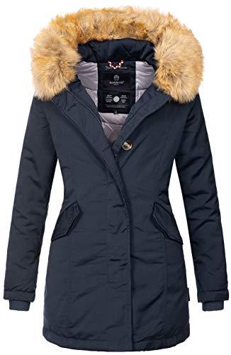 Marikoo Damen Winter Jacke Parka Mantel Winterjacke warm gefüttert B362 [B362-Karmaa-Navy-Gr.L]
