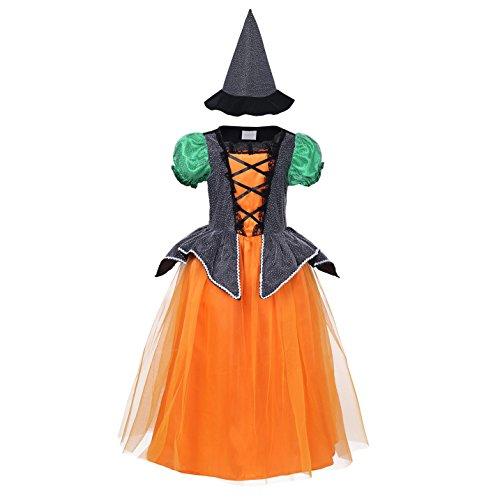 YiZYiF Hexen-Kostüm Mädchen + Hexen-Hut Kinder Kostüm Hexe Kinderkostüm für Halloween, Fasching, Karneval Schwarz + Orange 104-110