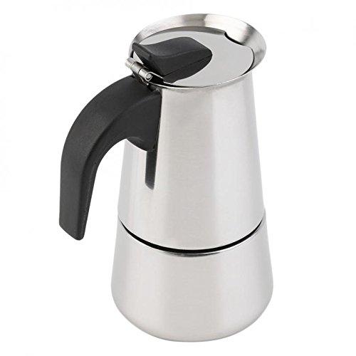 Cafeteras Acero Inoxidable Olla Café Express Percolador Moka Estufa Eléctrica Tazas - 100 ml (2