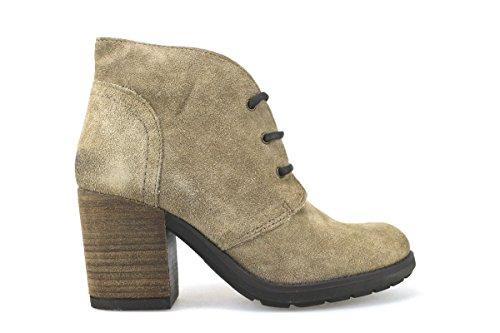 scarpe donna KEYS stivaletti tronchetti beige camoscio AJ148 (41)