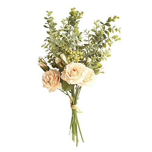 xmxdesiz Künstliche Blume Rose Eukalyptus DIY Garten Party Hochzeit Craft Decor 1 Strauß