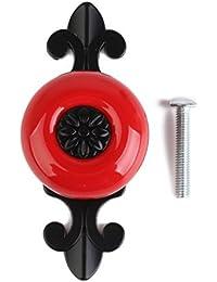 DROVE Retro - Armario redondo de cerámica con tirador de metal (negro mate + rojo)