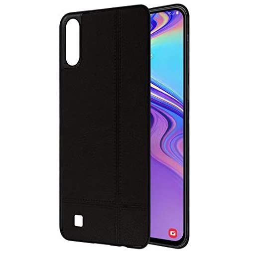 - 41Fn2XRYfML - Amazon Brand – Solimo Leather Mobile Cover (Soft & Flexible Back case) for Samsung Galaxy M10 (Black)