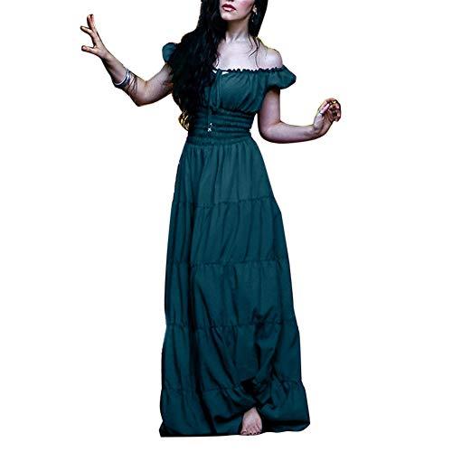 GladiolusA Damen Renaissance Mittelalter Kleid Viktorianischen Königin Kostüm Maxikleid Partykleid Grün M