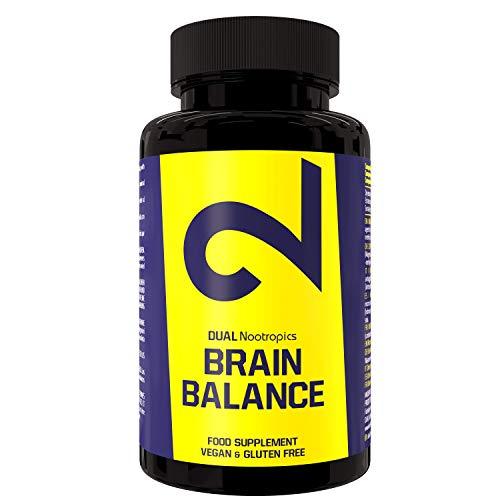 DUAL Brain Balance | Integratore Nootropico 100% Naturale | Senza Caffeina | Estratto Di Ashwagandha | Vegan | Certificato In Laboratorio | 60 Capsule | Made In EU