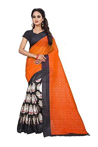 Om sai Latest Creation Bhagalpuri Silk Printed Saree with Blouse Piece Material