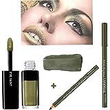 L'ORÉAL PARIS Fard à Paupières Infaillible Eye Paint - 202 Keep On Khaki + Crayon Khol & Contour Minéral Bourjois - 03 Vert Mousse (Kit de 2 Produits)