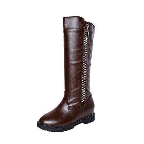 Botas Altas Mujer Koly Invierno women Muslo Alto Botines Martin La rodilla boots Aumentado Plano Talones Zapatos Moda tacón medio Botas Inferior Pierna alta de rodilla botas largas (37, Marrón)