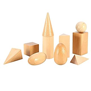 Vinallo 10 Pcs Wooden Teaching 3D Montessori Mystery Bag Geometry Early Educational Cognitive Blocks Toys