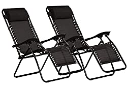 KEPLIN Set of 2 Heavy Duty Textoline Zero Gravity Chairs | Garden Outdoor Patio Sun Loungers | Folding Reclining Chairs | Lounger Deck Chairs (BLACK)