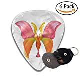Abstract Petal Butterfly Illustration Isolated On White Background Floral Design Element Stylish Celluloid Guitar Picks Plectrums For Guitar Bass .6 Pack 46mm