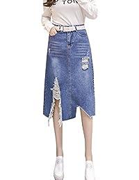 Mujer Casual Midi Falda De Mezclilla Faldas Vaqueras Cintura Alta b6211487db68