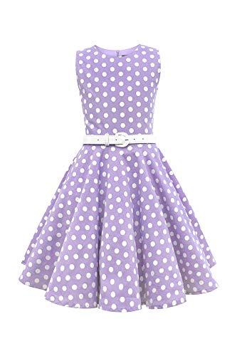 BlackButterfly Kinder 'Audrey' Vintage Polka-Dots Kleid im 50er-J-Stil (Lila, 13-14 J / 158-164)