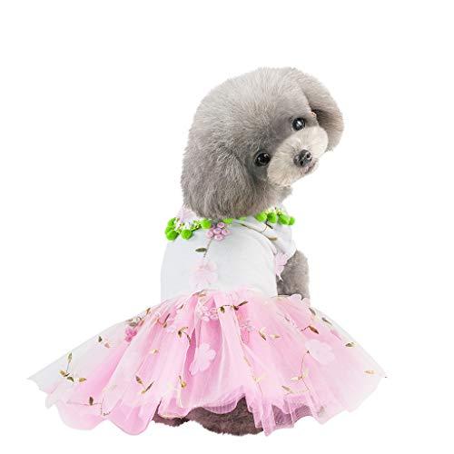 EUZeo Frühling Sommer Haustierbekleidung Kleidung für Hunde Katze Schön Hündchen Kätzchen Tüllrock Mit Blumen Bedruckt Kleiner Hund Kleine Katze Kurzärmelig Spitzenkleider Haustierkleidung ()