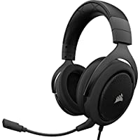 Corsair HS50 Stereo - Auriculares Gaming con micrófono Desmontable (para PC/PS4/Xbox/Switch/móvil), carbón