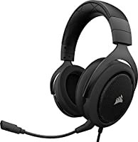 Corsair CA-9011170-EU HS50 Stereo Gaming Headset (PC, Xbox One, PS4, Nintendo Switch and Mobile Device Compatible, Memory Foam Earcups, 50 mm Neodymium Speaker Drivers, Optimised Unidirectional Microphone) - Carbon Black
