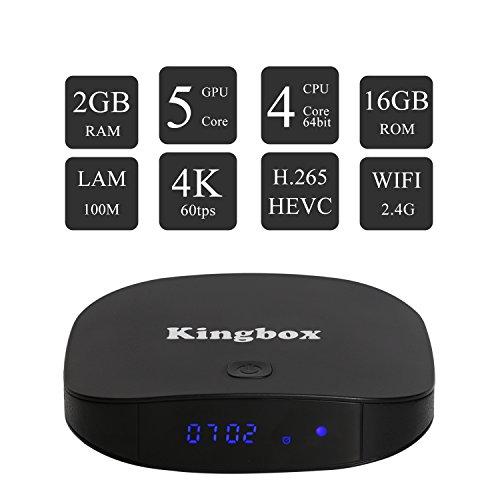 Kingbox   [2017 Última Edición] K2 Android 6.0 TV Box de 2GB RAM + 16GB ROM/ 4K/ Penta Core/ H.265/ BT4.0 con Mini Teclado Inalámbrico Smart TV Box