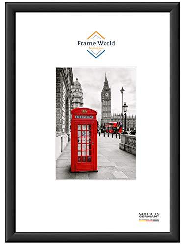 Frame World MEX38 Bilderrahmen für 83 cm x 60 cm Bilder, Farbe: Schwarz-Matt, MDF-Holz Rahmen nach Maß mit entspiegeltem Acrylglas, Aussenmaß: 88,6 cm x 65,6 cm