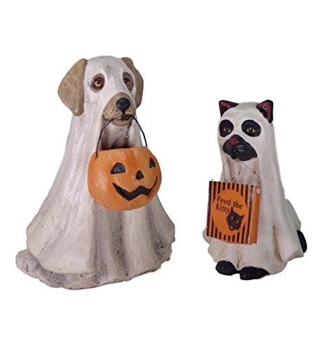 Bethany Lowe Halloween-Figuren, Gruseliger Geister, Hund und Katze, 2 Stück -