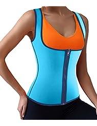 DODOING Damen Zipper Sport Waist Cincher Training Unterbrust Korsage Korsett Corsage Sweat Vest Hot Neopren Sauna Tank Top Weste für Gewichtsverlust