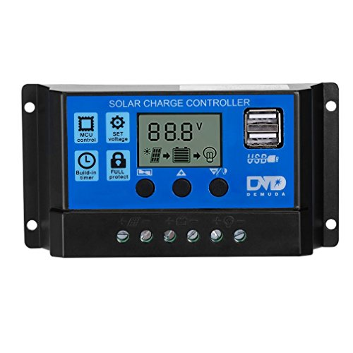 LESHP Regulador de Carga Solar Panel 20A 12V-24V Controlador de Carga Solar con la Pantalla LCD Protección de Mutiple Parte USB (Azul)