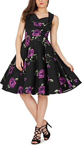 BlackButterfly Aura' Infinity Vintage Rockabilly Floral Swing Dress (Large Purple Roses, UK 14)