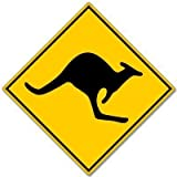 Zona de vinilo adhesivo de advertencia de canguros Australia Pegatina para 101 mmx101 mm