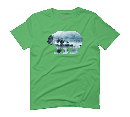 Misty Waterscape Bear - Turquoise Blue Men's Graphic T-Shirt - Design By Humans Green
