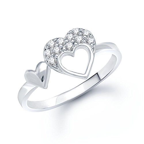 VK Jewels Double Heart (CZ) Rhodium Plated Ring - FR1025R [VKFR1025R8]
