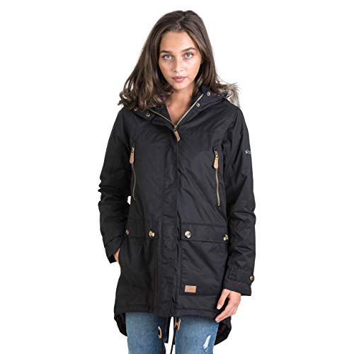 Trespass Clea, Black, XS, Waterproof Jacket with Concealable Hood for Women, X-Small, Black