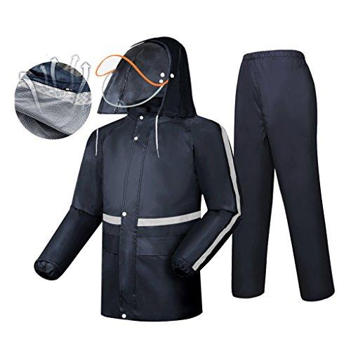 LAXF-Regenjacken Regenanzug für Männer und Frauen Wiederverwendbare Regenkleidung (Regenjacke und Regenhosen Set) Erwachsene Kapuze Outdoor Arbeit Motorrad Golf Angeln Wandern Jagd (Motorrad-jacke Mesh-tech)
