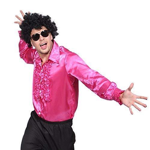 Kostüm 1980 Retro - Rosa Gr.L 70er 80er 1970s 1980s Disco Rueschenhemd Kostuem Glanz Schlager Hemd Party Retro Herrenhemd Herren Kostuem