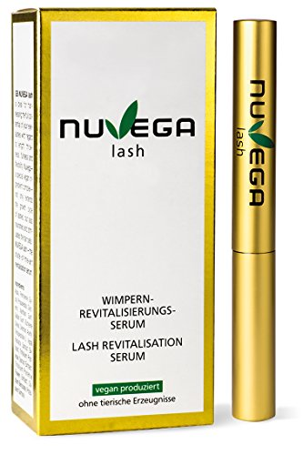 NuVega Lash Eyelash - Vegan hergestelltes Wimpernserum und Augenbrauenserum - Für lange gesunde Wimpern made in Germany- 3 ml