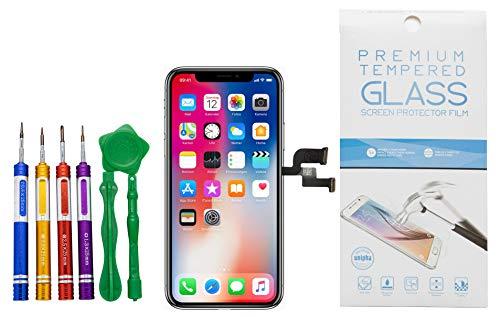 GIKEB Ersatzdisplay für iPhone X | funktioniert mit iOS 12 | komplettes LCD Retina Glas | Reparatur | mit Schutzfolie & Werkzeug | Deutscher Händler | 3D Touch | hohe Qualität (iPhone X)