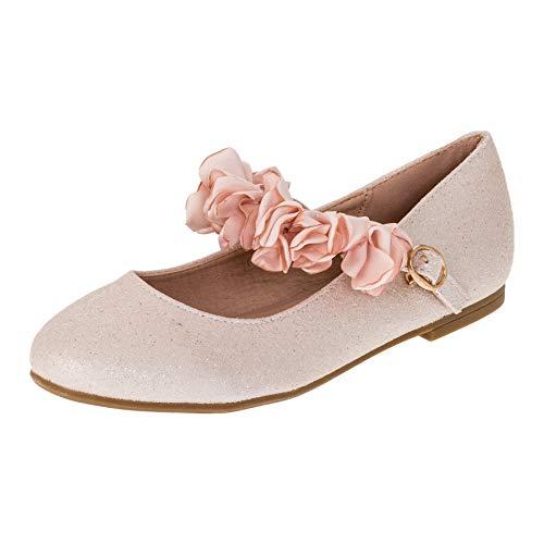 Doremi Edle Festliche Kinder Mädchen Prinzessinnen Schuhe Ballerinas mit Schnalle M512rs Rosa 36 EU