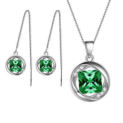 rthstone Schmucksets 925 Sterling Silber Grün Smaragd Geburtsstein Halskette und Ohrringe Set Geschenke für Frauen und Mädchen DS0029G ()