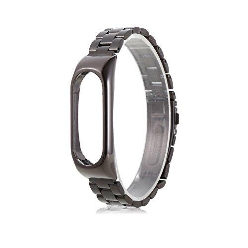 iMounTop Xiaomi Mi Band 2 Mi2 Armband Ersatz Stainless steel Edelstahl Armband für Xiaomi Mi Band 2 OLED-Schirm-Noten-Mi Band 2 Armband Smart-Armband (Mi Band Version 2.0) ( Hinweis: den Tracker nicht umfassen) (Neue Version-Schwarz)
