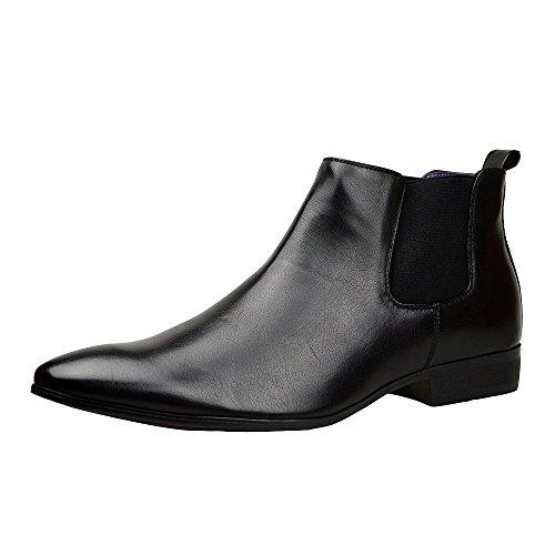 Stivali da uomo, eleganti, stivaletti chelsea in pelle nera, stile casual, misure 41-46, nero (black), 42.5