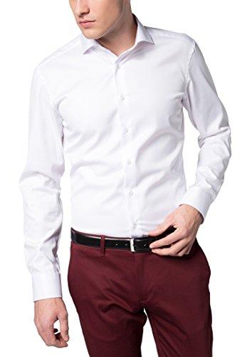 eterna Langarm Hemd Slim FIT Twill unifarben W40 Langarm  Weiß