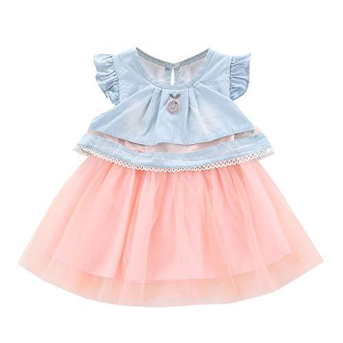 DQANIU  Baby Mädchen Früchte Stickerei Tüll Kleid Splice Denim Lace Princess Dress (Früchte-wand-aufkleber)
