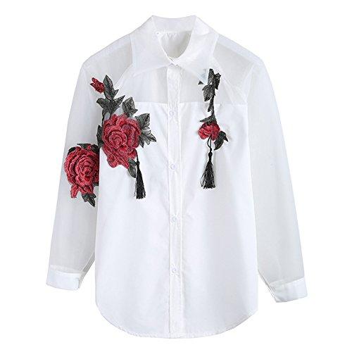 Juleya Donna Manica Lunga Camicetta - Moda Ricamo di Fiori Camicia con Turn-Down Colletto Primavera e Autunno Casual Slim Fit Elegante Maglietta Tops S-2XL bianca