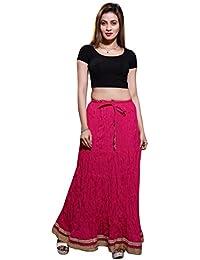 Bfly Women's Cotton Long Skirt(Pink)+Freebie