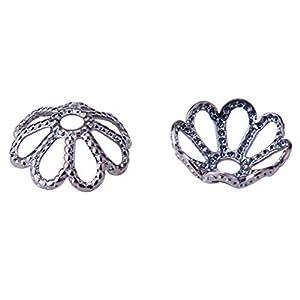 20 Perlenkappen Blütenblatt Messing Blume,platinfarbig,8×3 mm,Loch:1mm Perlen