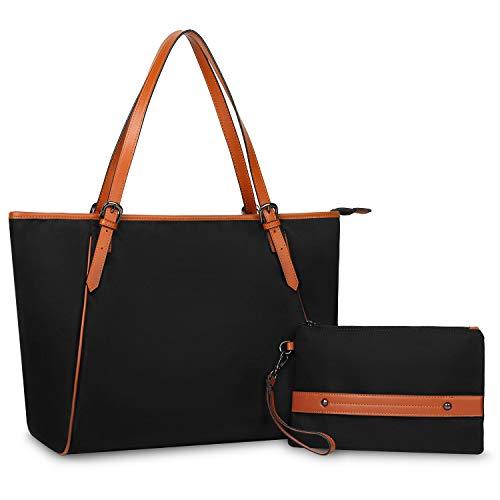 YALUXE Damen Handtasche Oxford Nylon und Echtleder Umhängetasche mit großer Kapazität für 17 '' Laptop Schwarz -