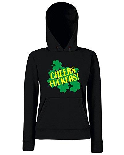 T-Shirtshock - Sweats a capuche Femme TIR0020 cheers fuckers funny st pats green tshirt Noir