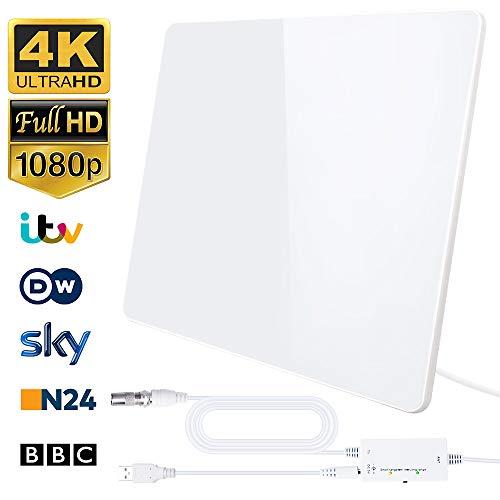 [aggiornata al 2020] antenna hdtv digitale interna intelligente intensificatore di segnale raggio 200km, applicabili ai canali gratuiti 1080p 4k amplificatore con cavo coassiale 5m (bianco) (bianco)
