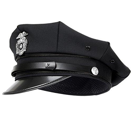 Offizier Hat Kostüm - Black Snake US Police Polizei Schirmmütze Polizeimütze mit Abzeichen - S - Schwarz
