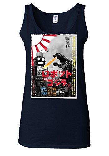 Tokyo Tin Robot Godzilla Top Fashion Novelty White Women Vest Tank Top Bleu Foncé